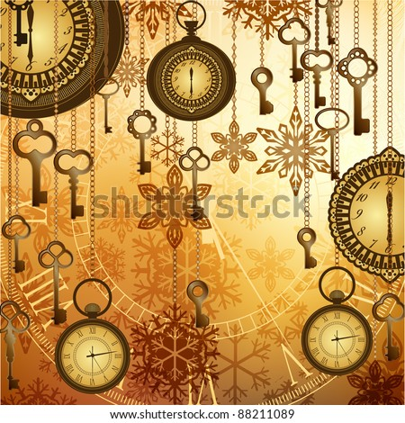 Vintage golden watches, keys and snowflakes on shiny background - stock vector
