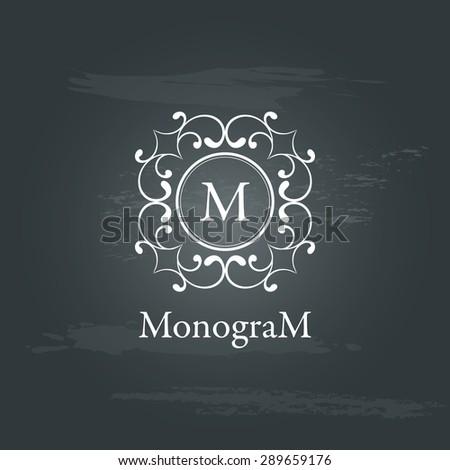 Vintage graceful monogram design template. Logo design isolated on chalkboard background. Vector illustration - stock vector