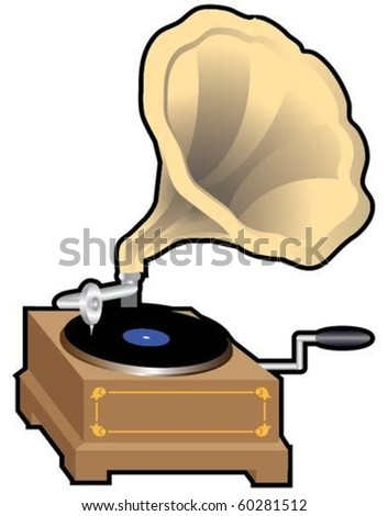Vintage gramophone isolated on a white background