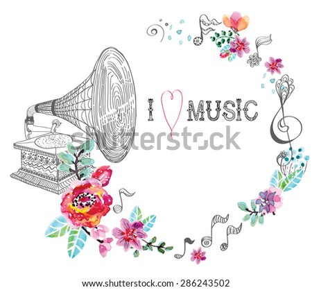 Vintage Gramophone, Record player background with floral ornament, beautiful  illustration with watercolor flowers, Vector