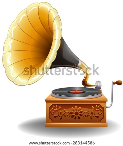 Vintage gramophone with recorder in luxury design - stock vector