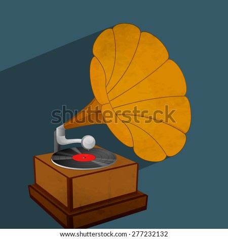 Vintage Gramophone with vinyl isolated on blue background. - stock vector