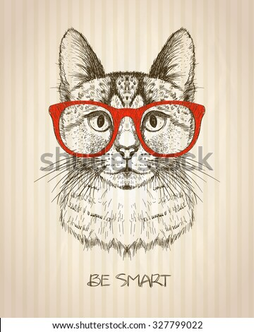 Vintage graphic poster with hipster cat with red glasses, against old paper striped backdrop, be smart quote card, hand drawn vector illustration - stock vector