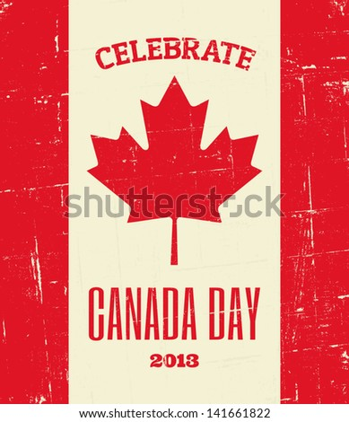 Vintage greeting card design for Canada Day. - stock vector