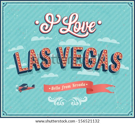 Vintage greeting card from Las Vegas - Nevada. Vector illustration. - stock vector