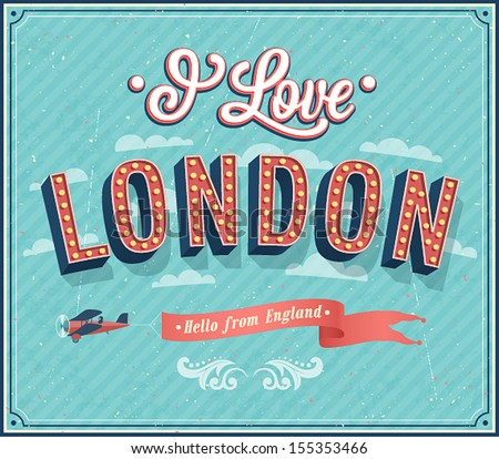 Vintage greeting card from London - England. Vector illustration. - stock vector