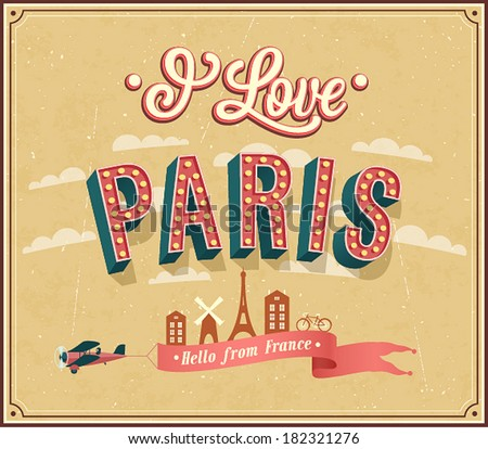 Vintage greeting card from Paris - France. Vector illustration. - stock vector