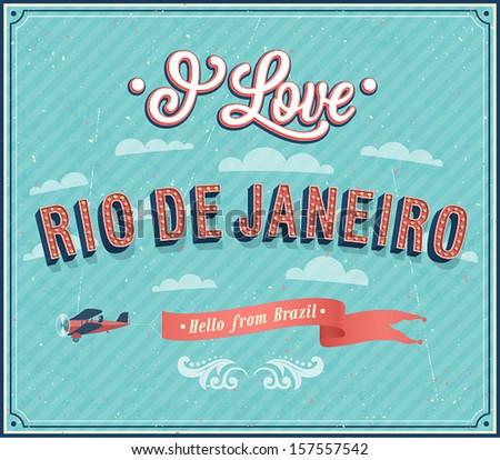 Vintage greeting card from Rio De Janeiro - Brazil. Vector illustration. - stock vector