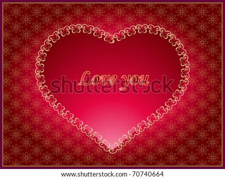 Vintage greeting card, Valentine theme - stock vector
