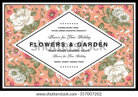 Vintage Greeting Card with Blooming Flowers. Frame, label. Beautiful pink, white flowers. Drawing, engraving. Freehand. Place Text. Chamomile, Wildflowers. Flora. Vector victorian style Illustration. - stock vector