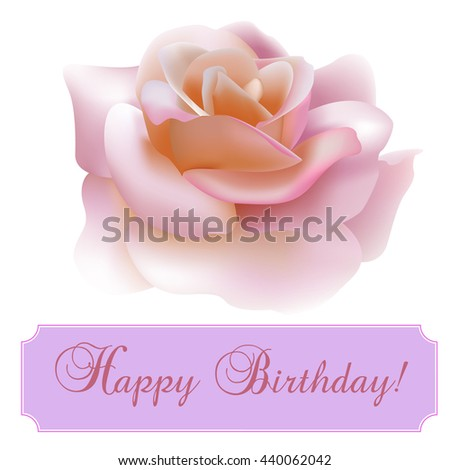 Vintage greeting card with blooming flowers, 'Happy Birthday' wording and place for your text. Vector illustration