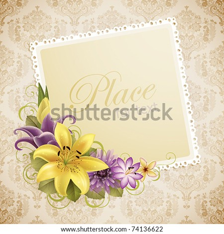 vintage greeting card with flowers and place for text - stock vector