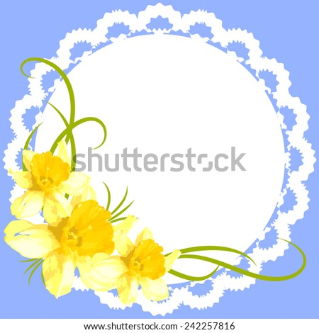 Vintage greeting card with narcissus on a blue background - stock vector