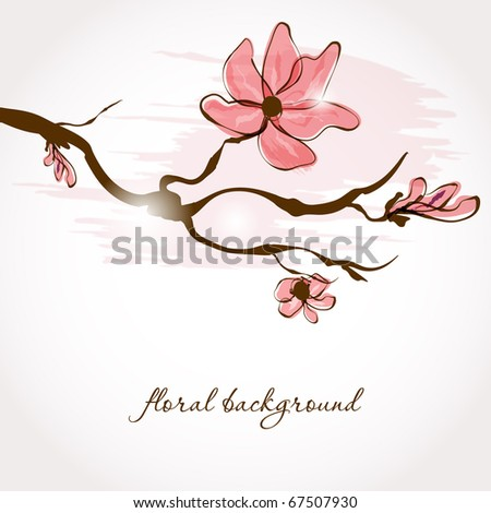 Vintage greeting card with sakura branch - stock vector