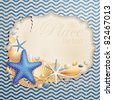 Vintage greeting card with shells and starfishes and place for text. - stock vector