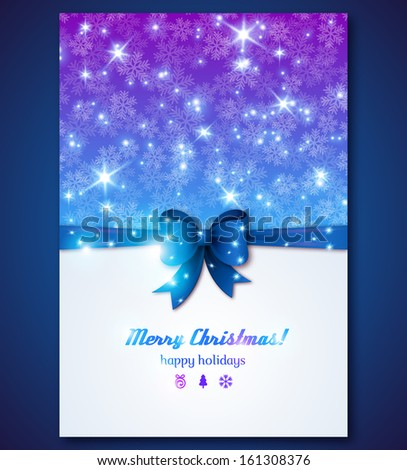 Vintage greeting card with snowflakes and purple bow. Vector illustration. Lights on violet background. Merry Christmas message. Background can be used for special Christmas menu design. - stock vector