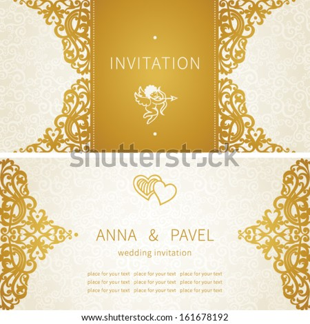 Vintage greeting cards with floral motifs in east style. Light gold background in persian style. Template design for wedding invitation. You can place your text in the empty frame. Save the date. - stock vector
