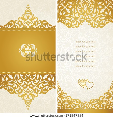 Vintage greeting cards with swirls and floral motifs in retro style. Template frame design for card. Golden vector border in Victorian style. You can place your text in the empty frame. - stock vector