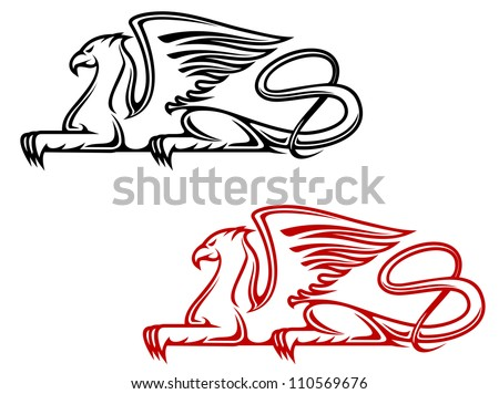 Vintage griffin for heraldic or tattoo design, such a logo. Jpeg version also available in gallery - stock vector