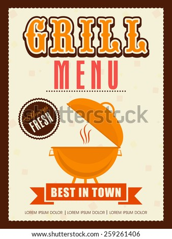 Vintage Grill menu card, template or flyer design for restaurant. - stock vector