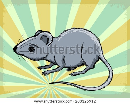 vintage, grunge background with house mouse