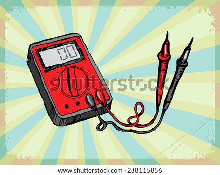 vintage, grunge background with multimeter