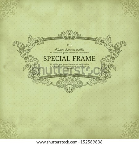Vintage grunge background with polka dot and floral frame - stock vector