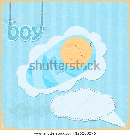 Vintage grunge background with the image of a little boy - stock vector
