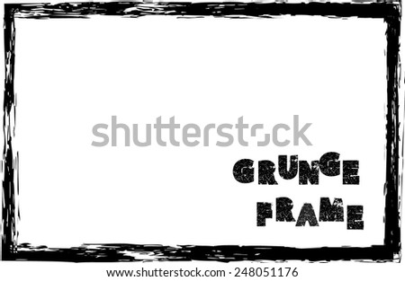 Vintage Grunge Black and White Distress Border Frame.  - stock vector