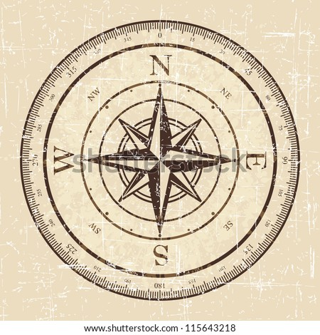 Vintage Grunge Compass Stock Vector 115643218
