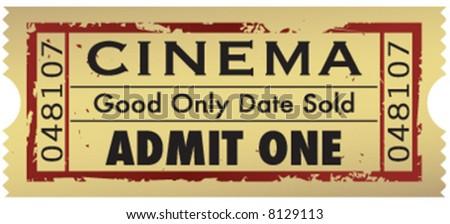 Vintage grunge movie ticket - stock vector