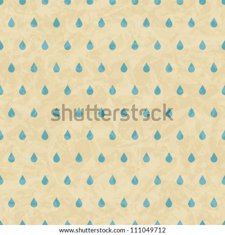 Vintage grunge old seamless pattern with drops. Vector texture. - stock vector