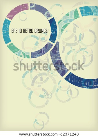 Vintage grunge round background eps 10 textured in violet, blue, green design - stock vector