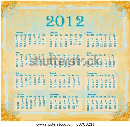 vintage grunge template for calendar 2012 - stock vector