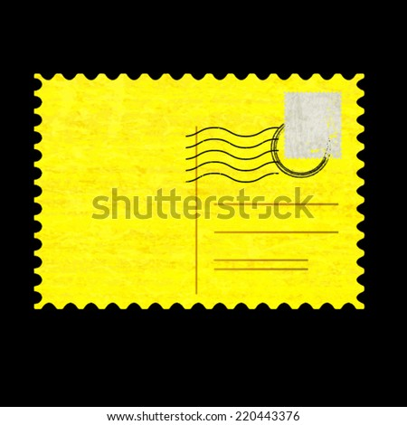 Vintage Grunge Texture Postcard with Empty Post Mark and Rubber Stamp . Vector illustration .  - stock vector