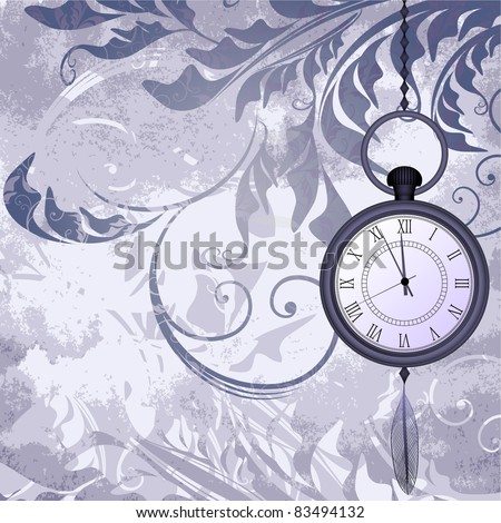 Vintage grungy background with pocket watches on chain - stock vector