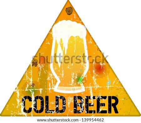 vintage grungy beer sign or bar logo, vector illustration - stock vector