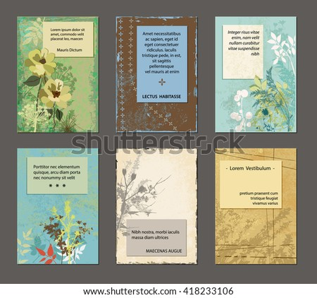 Vintage Grungy Cards - With leaves, branches, grass and flowers - stock vector