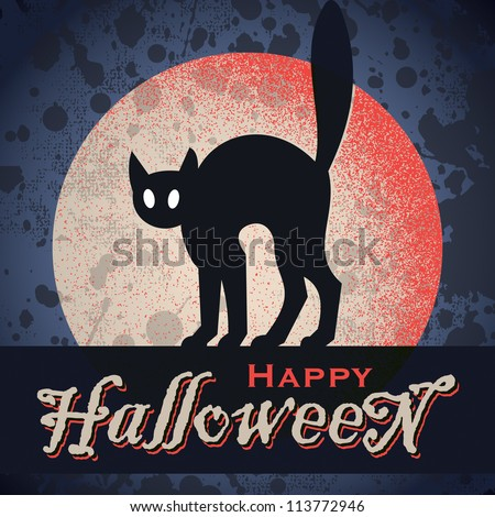 vintage grungy Halloween design with full moon and cat silhouette, vector (eps8) - stock vector