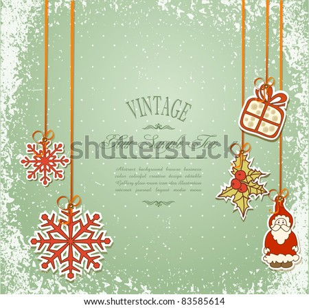Vintage, grungy New Year, Christmas background - stock vector
