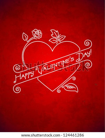 Vintage grungy Valentine's Day card with ribbon - stock vector