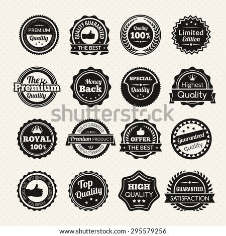 Vintage guaranteed quality best offer and limited edition round color stamps isolated vector illustration