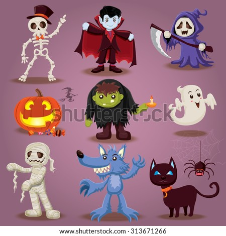 Vintage Halloween character design - stock vector