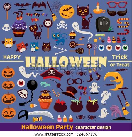 Vintage Halloween character element set  - stock vector