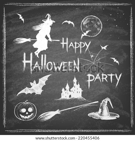 Vintage Halloween Hand Drawn Set on Chalkboard. Hand drawn chalk elements.Vector illustration. - stock vector