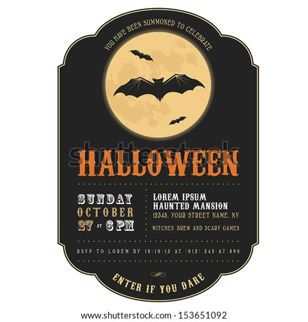 Vintage Halloween invitation with flying bats - stock vector