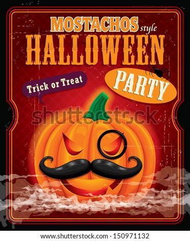 Vintage halloween mostachos style poster design - stock vector