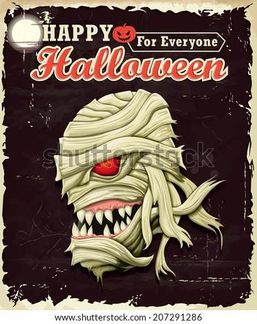 Vintage Halloween Mummy poster set design - stock vector