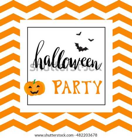 Vintage Halloween Party Invitation Card Template With Black Bats And Pumpkin Hand Written Lettering Phrase