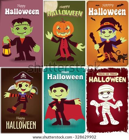 Vintage Halloween poster design - stock vector